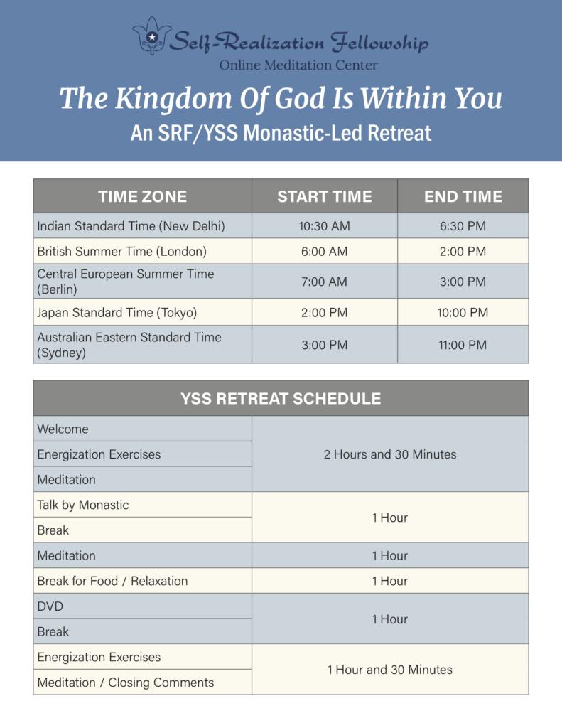 YSS Retreat Schedule